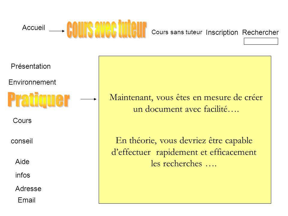 Accueil InscriptionRechercher Email Cours sans tuteur Présentation Conseil Pratiquer Infos