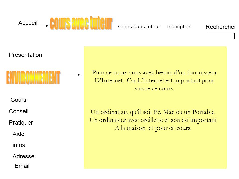 Accueil Environnement Conseil Pratiquer Aide infos Adresse Inscription Rechercher Email Cours sans tuteur Internet.