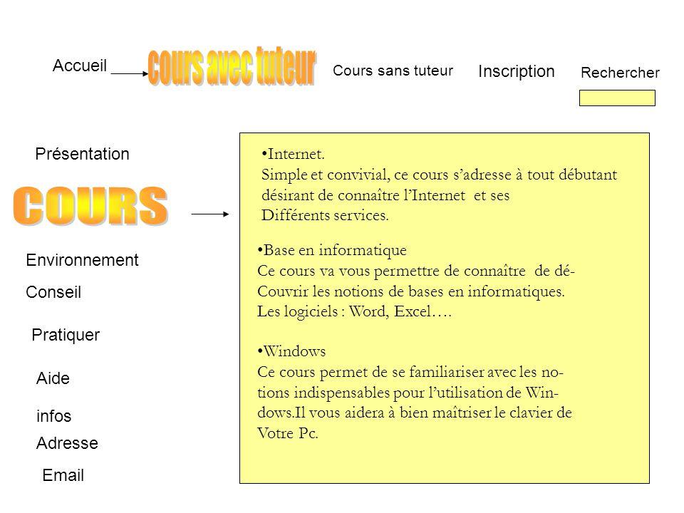 Accueil InscriptionRechercher Email Cours sans tuteur Présentation Conseil Pratiquer Aide