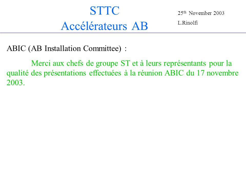 STTC AB accelerators Complexe PS: Pont roulant du hall Nord PR3 en retard de 3 semaines Nouvel incident au Linac 3: (changement de lumières sans informer le TSO) Complexe SPS: Problèmes des câbles TI 2 qui transitent par TCC6 Saga du TT20 et TDC2 25 th November 2003