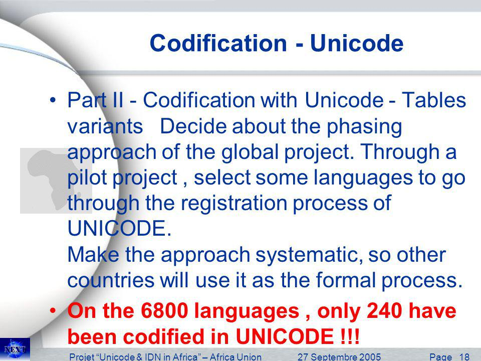 Projet Unicode & IDN in Africa – Africa Union27 Septembre 2005 Page 19 ICANN & IETF Initiative Unicode Process –Many languages are under unicode codification –More than 240 Languages IDN Initiative –IDN Committee2000 –IDN RIC Committee 2002 –IDN Guideline 1.0 – 20 June 2003 –IDN Guideline 2.0 – Under discussion
