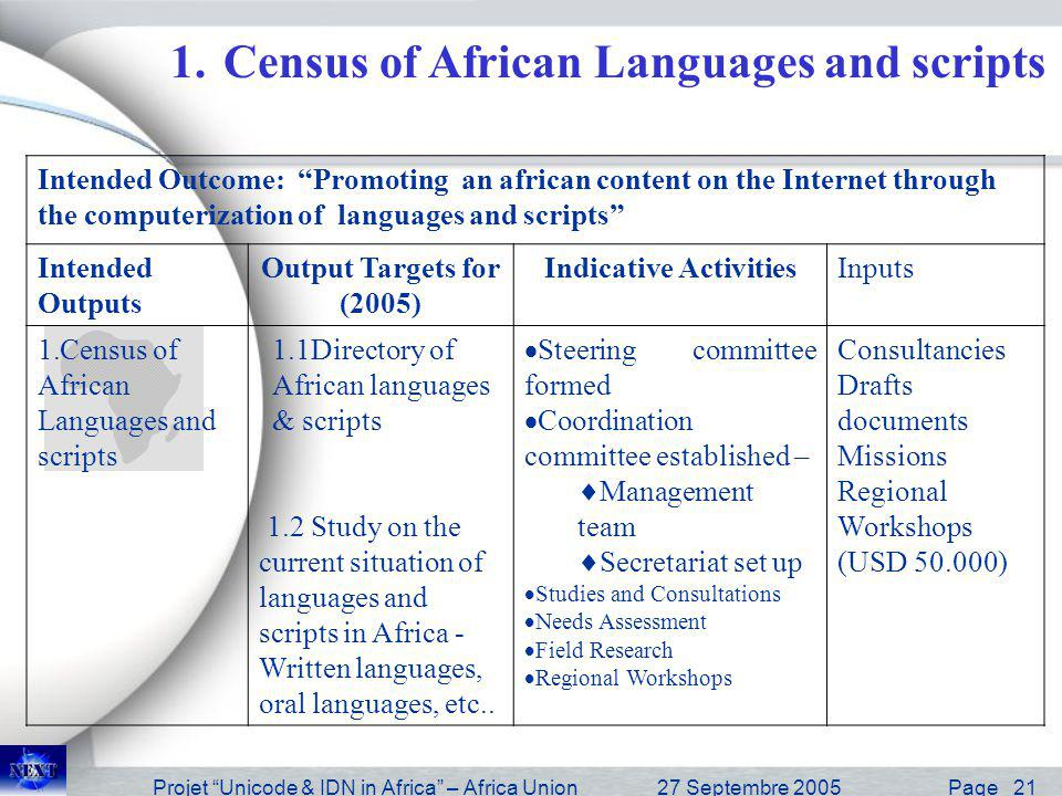 Projet Unicode & IDN in Africa – Africa Union27 Septembre 2005 Page 22 Unicode Registration 2.1 Pilot Project 2.1 Codification with Unicode 2.2 Tables variants 2.3 Keyboard layout Phasing the global project.