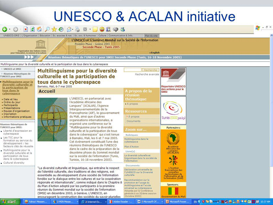 Projet Unicode & IDN in Africa – Africa Union27 Septembre 2005 Page 6 RATIONALE FOR THE PROJECT Promoting multilingualism and an African presence on the Net..cn..tw..jp..kr..kr الاهرام.م viagénie.qc.caישראל.קום...com.com