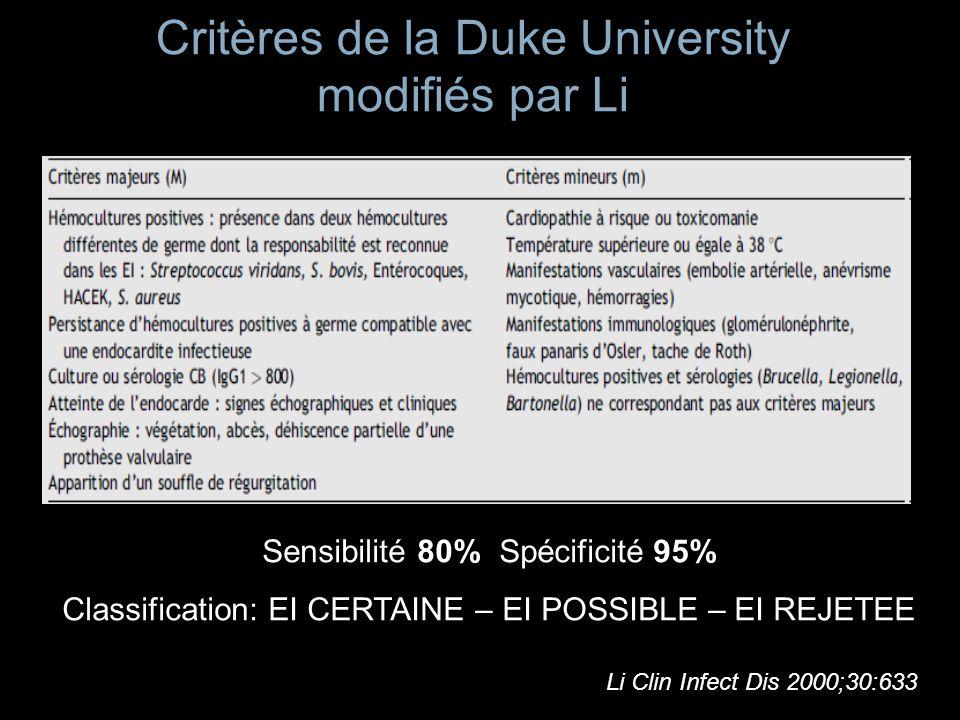 Limites des critères de DUKE « Outil épidémiologique » Sensibilité des critères échographiques : 24 % de faux négatifs Habib JACC 1999;33:446 « Pas de substitution au discernement clinique » Hoen Revue Med Interne 2007;28:s22 Baddour.