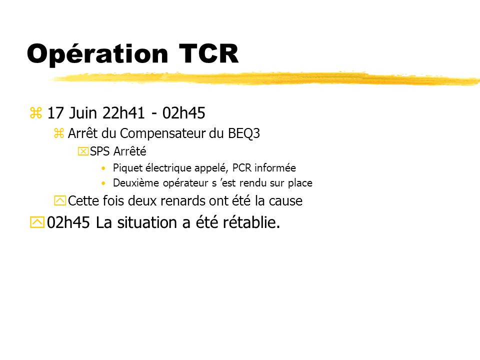 Opération TCR z21 Juin 19h03 - 20h53 yArrêt EAU DEMI TT2 xLe PS a été arrêté.