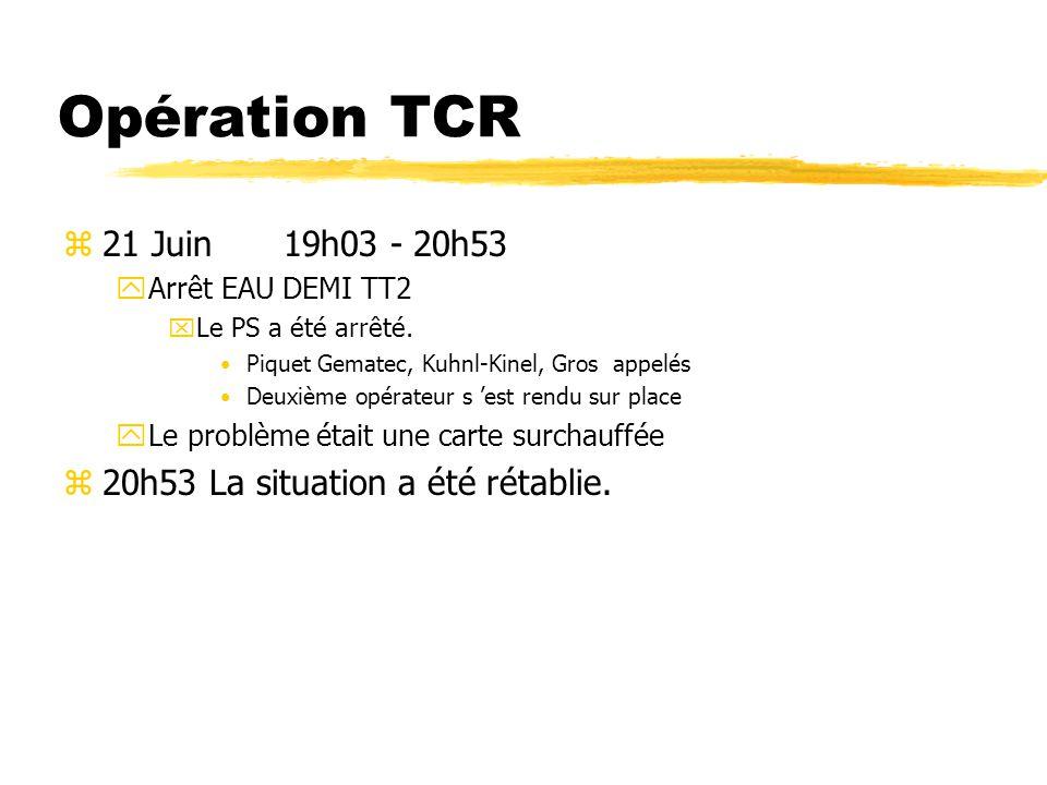 Opération TCR z28 Juin 23h32 - 02h46 zArrêt OPAL xDéfaut commutation réseau Normal/Secours Deuxième opérateur s est rendu sur place Piquet électrique appelé x02h14 Déclenchement départ 380V expérience.