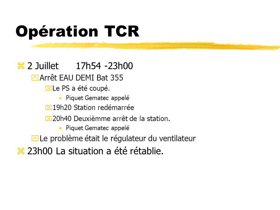 Opération TCR z6 Juillet 14h18 - 15h00 yArrêt EAU DEMI Bat 237 xLe PS a été coupé.