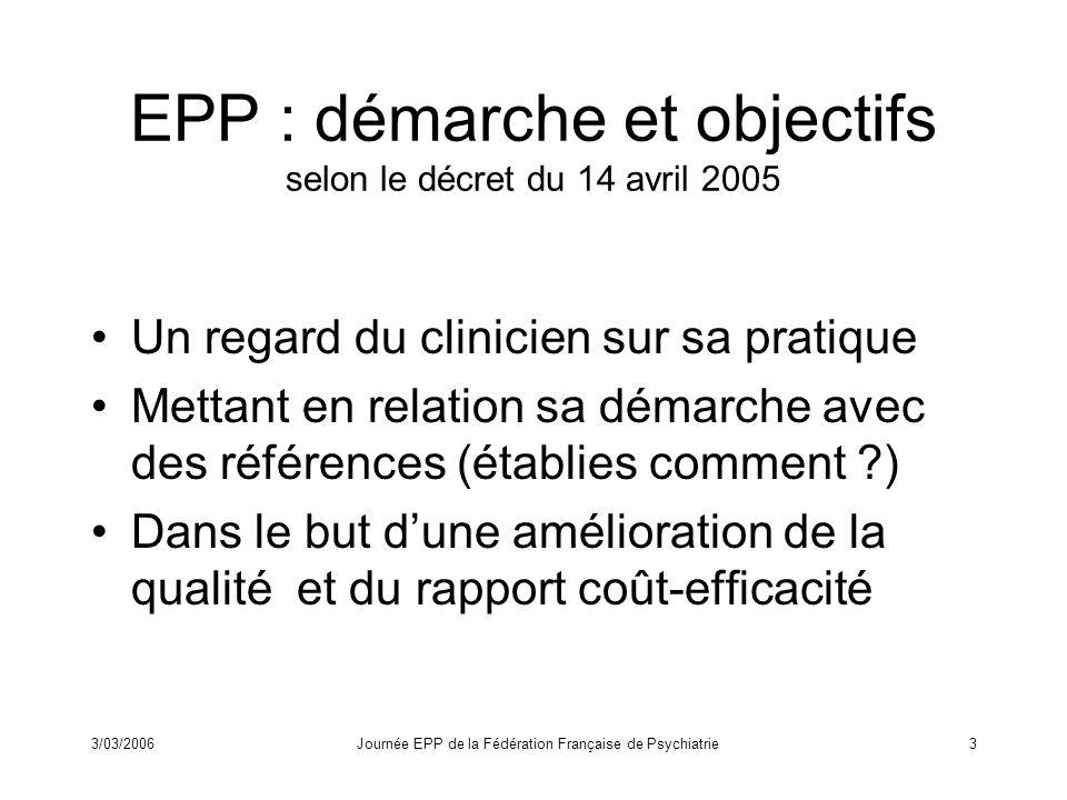 3/03/2006Journée EPP de la Fédération Française de Psychiatrie4 Une application de lEPP à la psychothérapie dans le référentiel « dossier du praticien* » –Q8 : Trouve-t-on dans le dossier les notes participant à la démarche diagnostique .