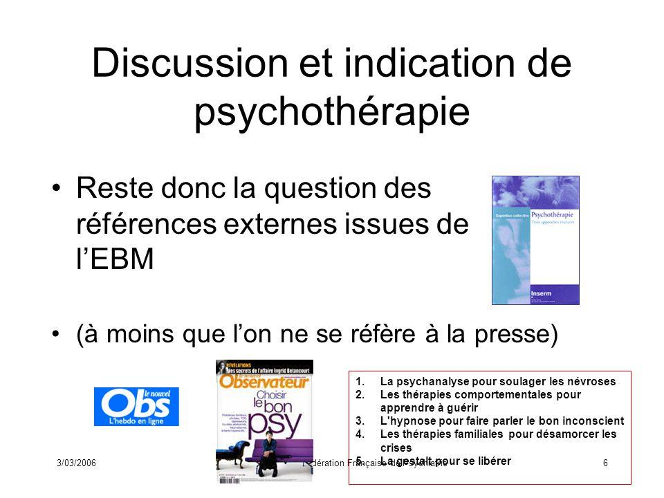3/03/2006Journée EPP de la Fédération Française de Psychiatrie7 EBM des vingt dernières années Sur quoi repose-t-elle dans les faits .