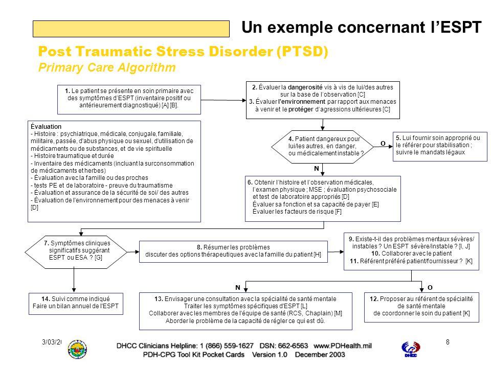 3/03/2006Journée EPP de la Fédération Française de Psychiatrie9 Et les recommandations associées Interventions pharmacologiques :--- - Interventions psychothérapiques pour lESA/ESPT Bénéfice significatif.