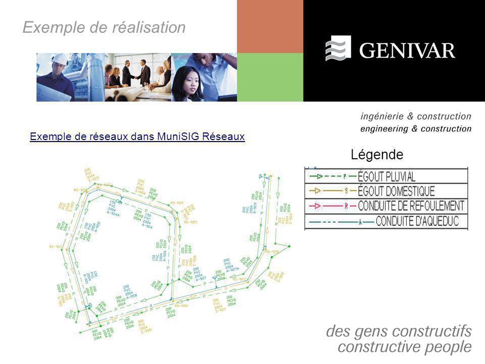 Exemple de réalisation Exemple de données: - Diamètre; -Année dinstallation; -Année de réhabilitation; -Type de réhabilitation; -Profondeur; -Numéro dindex; -Taux de fuites; -Taux de réparations; -Hiérarchisation; -Déficiences fonctionnelles; -État structural; -Côte globale; -Etc… Autodesk Map 3D 2007