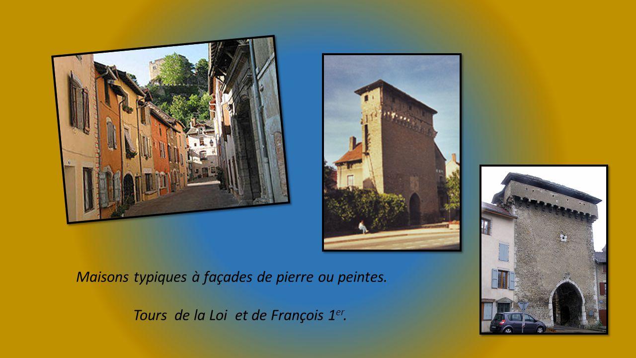 Maisons typiques à façades de pierre ou peintes. Tours de la Loi et de François 1 er.