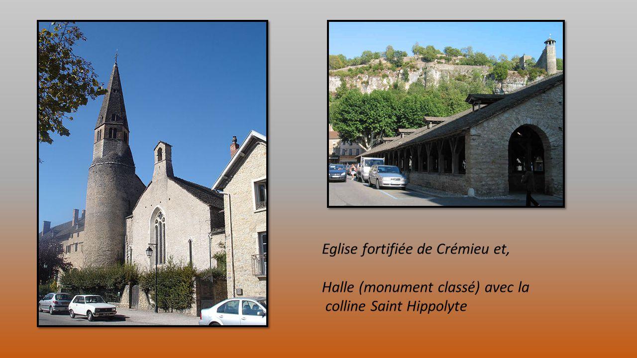 Eglise fortifiée de Crémieu et, Halle (monument classé) avec la colline Saint Hippolyte