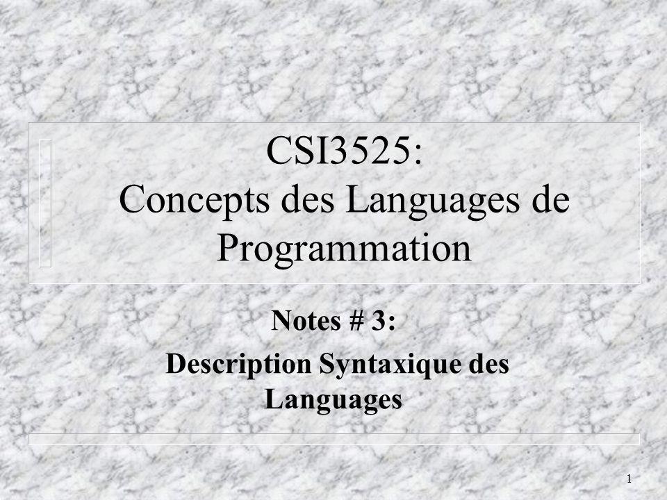 2 Pourquoi Decrire les Languages de Programmation.