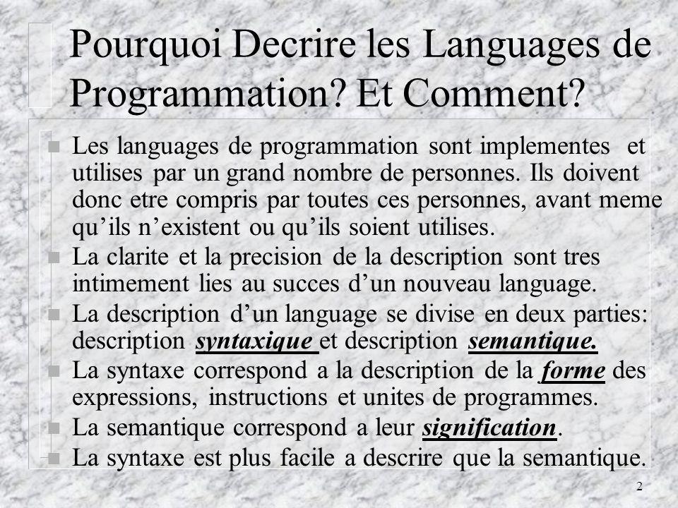 3 La Description Syntaxique: Definitions n Les languages sont des chaines de caracteres provenant dun alphabet.