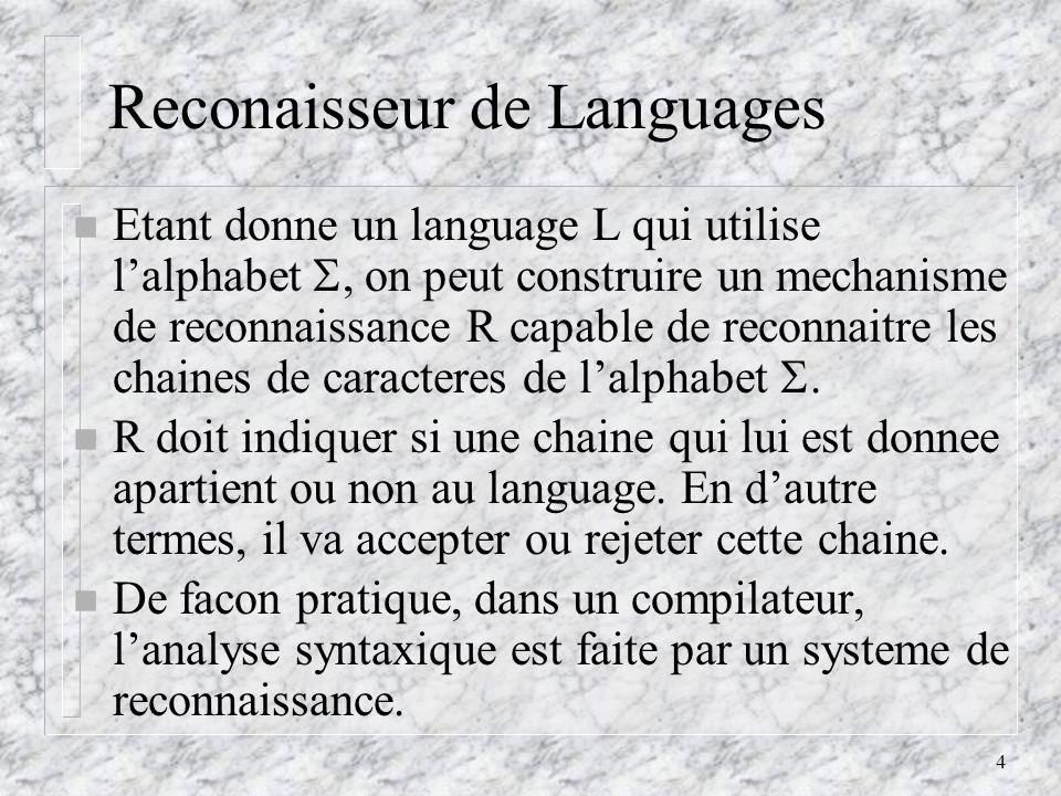5 Generateur de Languages n Un generateur de language genere des phrase dun language.