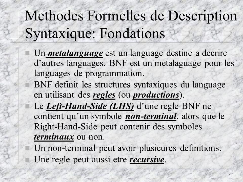 8 Methodes Formelles de Description Syntaxique: Definitions n Les phrases dun language sont generees par lapplication en sequence des regles de la grammaire.