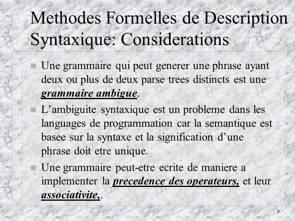 10 EBNF: Une extension de la BNF n Il existe certaines extensions de la form Backus-Naur qui netendent pas le pouvoir descriptif du meta- language, mais plutot, en etend sa lisibilite et sa facilite decriture.