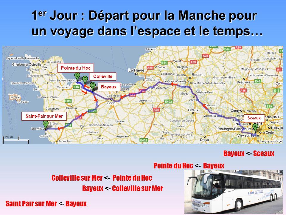 2 eme jour : Saint Pair –> Cherbourg Notre itinéraire dans le Cotentin 3 ème jour : CM1 : les Îles Chausey CM2 : Saint Pair –> Ste Mère Eglise –> Utah Beach 4 ème jour : Saint Pair –> Avranches –> Mont Saint-Michel 5 ème jour : Saint Pair –> Jullouville