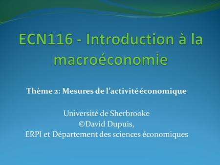 ECN116 - Introduction à la macroéconomie