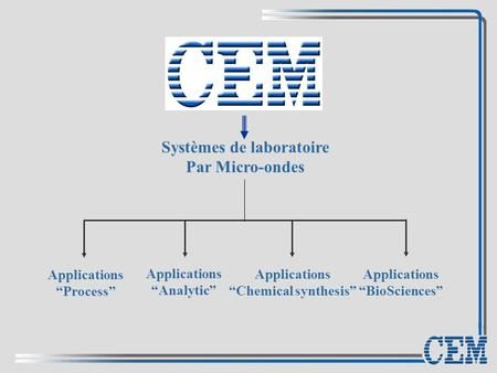 "Systèmes de laboratoire Par Micro-ondes Applications ""Chemical synthesis"" Applications ""Process"" Applications ""Analytic"" Applications ""BioSciences"""
