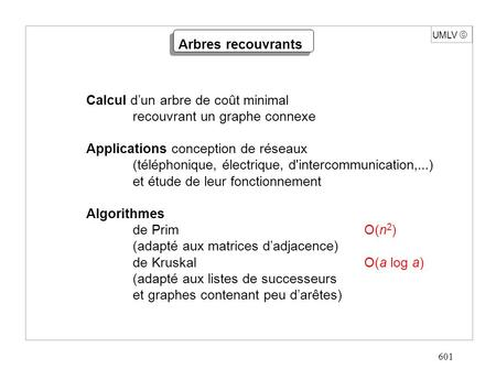 601 UMLV  Calcul d'un arbre de coût minimal recouvrant un graphe connexe Applications conception de réseaux (téléphonique, électrique, d'intercommunication,...)