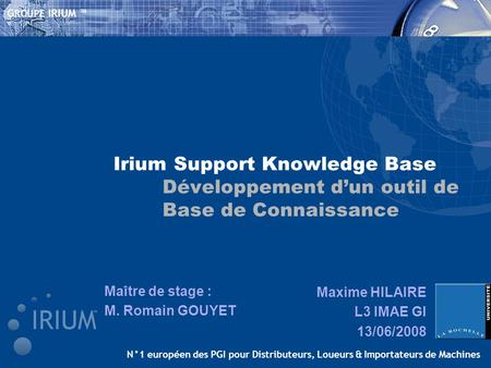 Irium Support Knowledge Base. Développement d'un outil de
