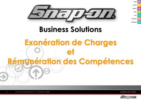 BUSINESS SOLUTIONS Copyright Snap-on Business Solutions 2007. All Rights Reserved. Confidential11 1 Business Solutions Exonération de Charges et Rémunération.