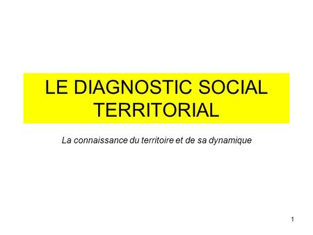LE DIAGNOSTIC SOCIAL TERRITORIAL