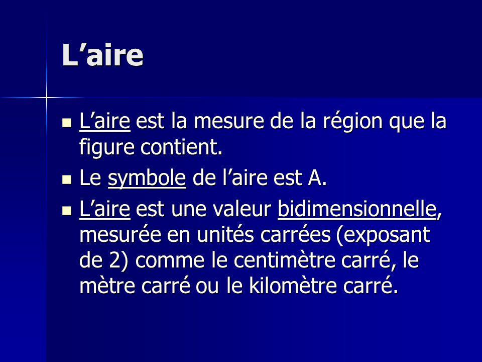 Laire du rectangle Pour calculer laire du rectangle: Pour calculer laire du rectangle: A rectangle = longueur x largeur A rectangle = longueur x largeur