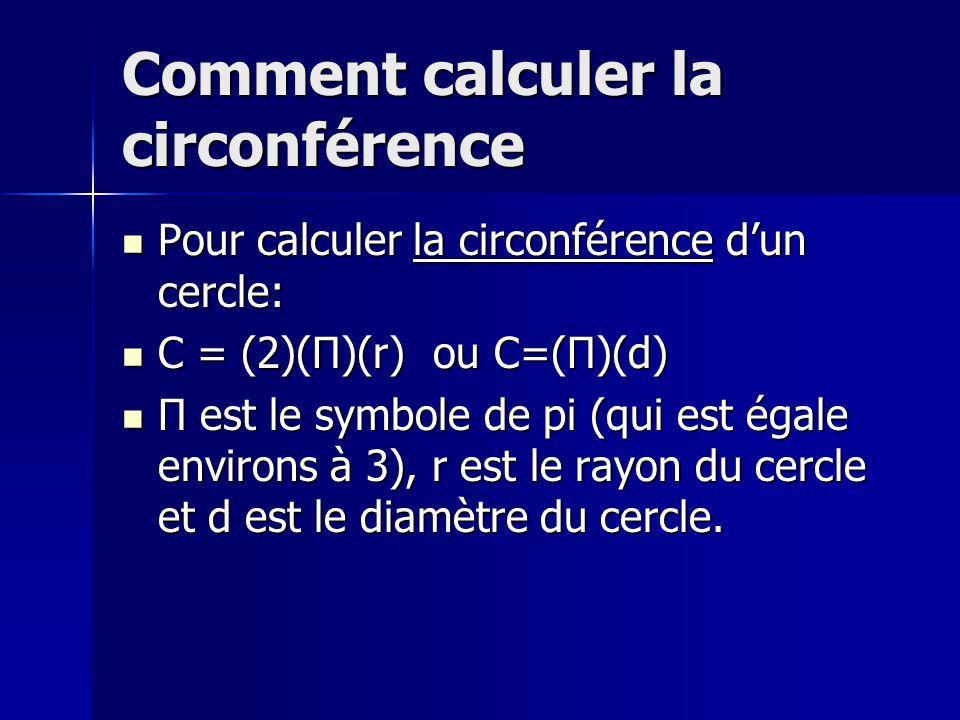 Comment calculer laire dun cercle Pour calculer laire dun cercle: Pour calculer laire dun cercle: A = (Π)(r 2 ) A = (Π)(r 2 )