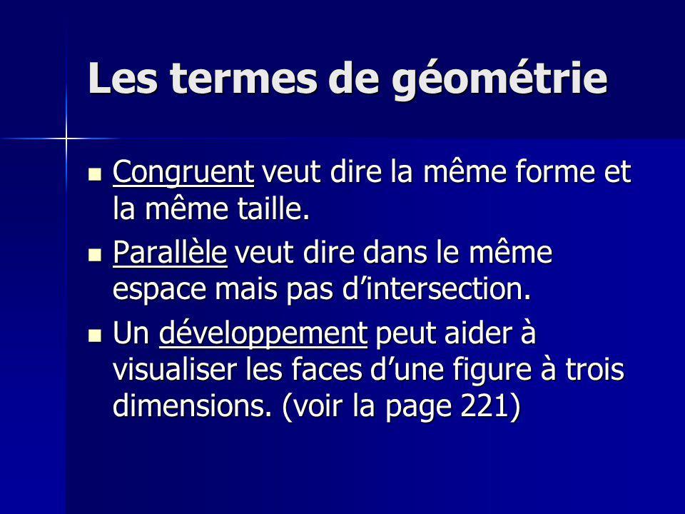 Les prismes et les cylindres Les prismes et les cylindres ont 2 faces congruentes et parallèles.