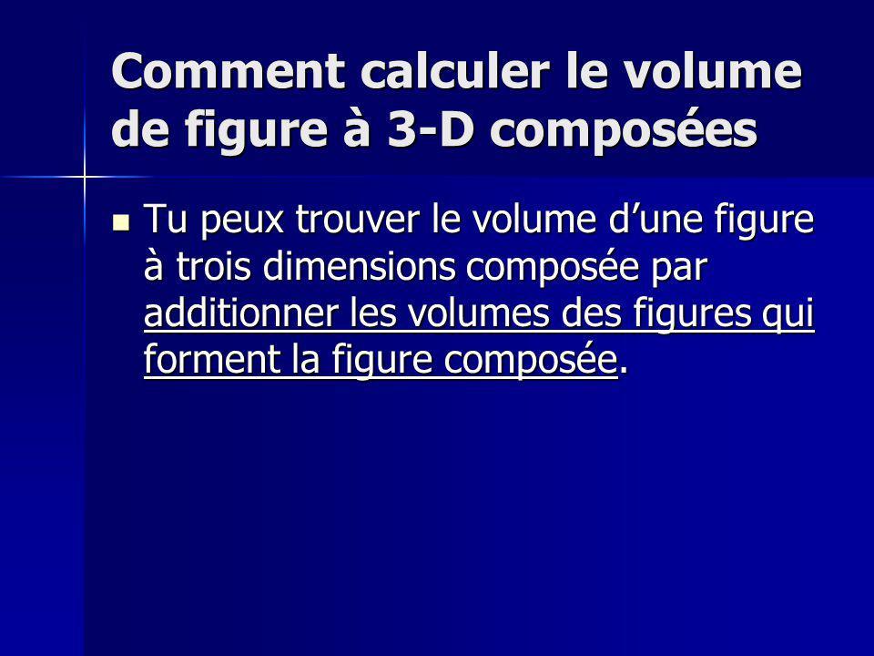 Le volume de figures à trois dimensions Le volume est lespace quun objet occupe, exprimé en unités cubiques.