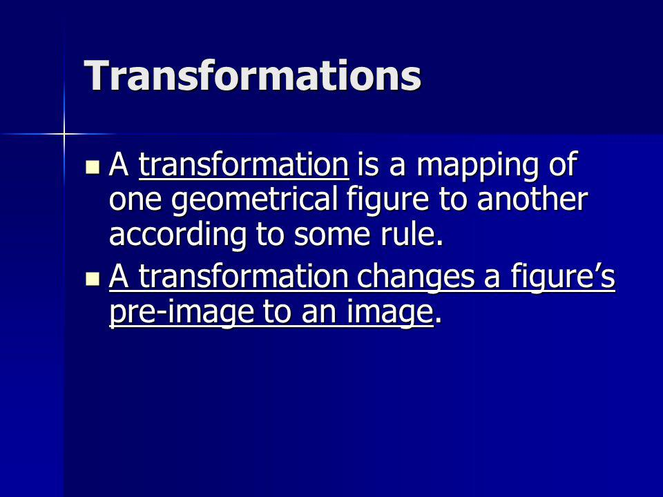 Pre-image vs.Image A pre-image is the original line or figure before a transformation.