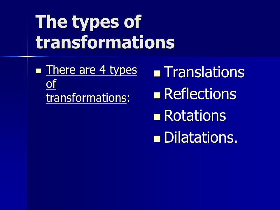 A translation A translation is a slide.It is represented by a translation arrow.