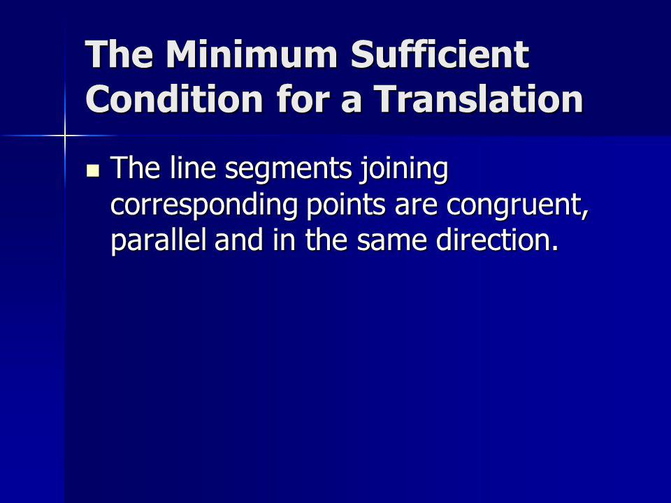 Minimum Sufficient Condition for a Reflection The line segments joining corresponding points have a common perpendicular bisector.