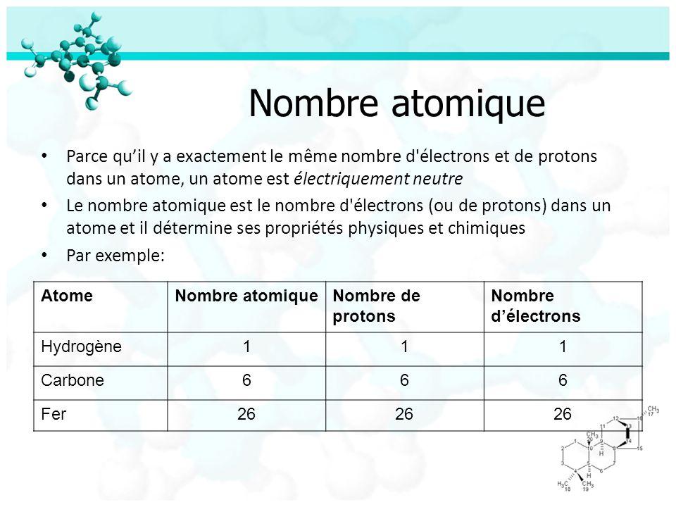 Masse atomique La masse atomique est la masse d un atome, exprimé dans les unités atomiques de masse (amu) Cest la masse totale de protons et neutrons dans un atome (la masse d un électron est si petite qu il est considéré négligeable) On peut utiliser la masse atomique pour calculer le nombre de neutrons dans un atome Par exemple: AtomeMasse atomiqueNombre de protons Nombre de neutrons Hydrogène111 - 0 = 1 Carbone12612 - 6 = 6 Fer562656 – 26 = 30