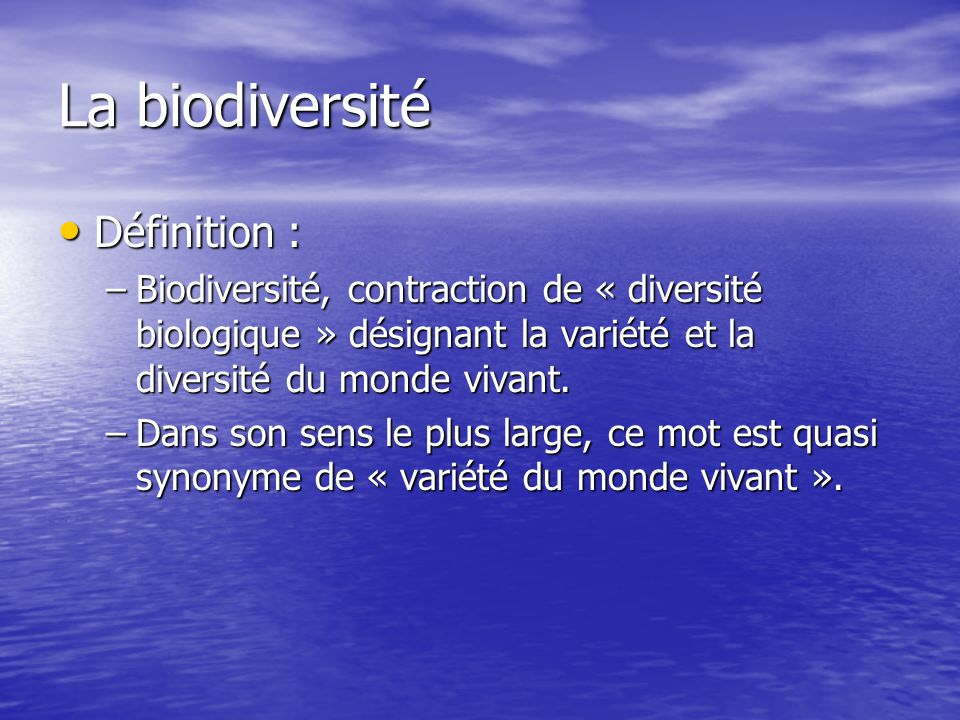 Taxonomie Définition : Science de la classification des organismes vivants.