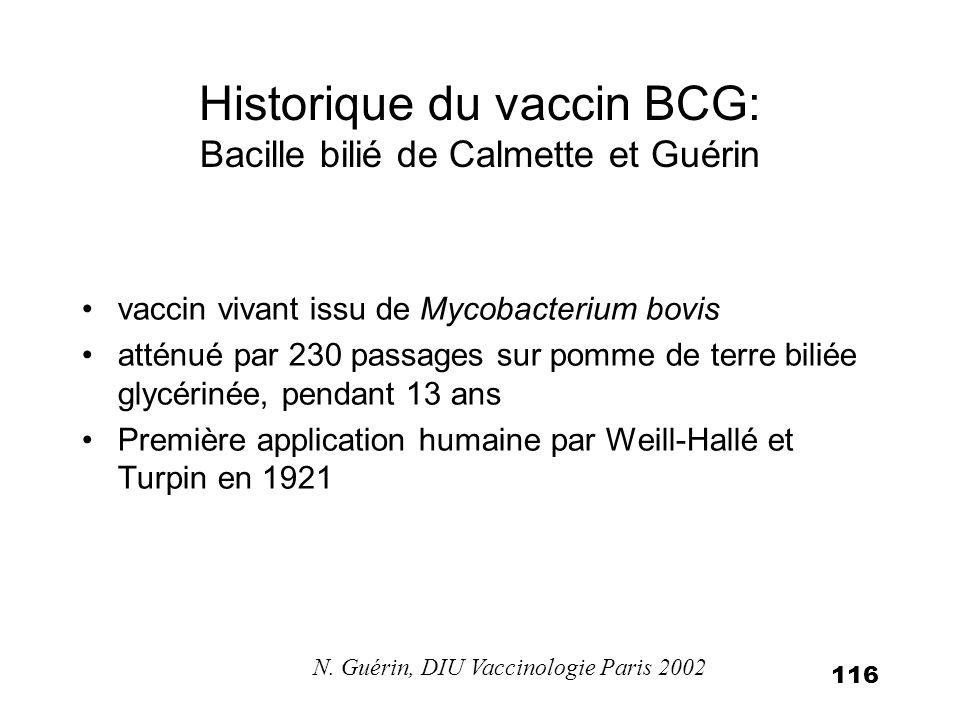 117 Utilisation du BCG dans le monde Obligatoire dans 64 pays recommandé dans 118 autres pays Couverture vaccinale la plus élevée au monde en développement N.