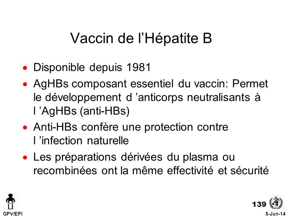 140 Protection conférée par le Vaccin Hépatite B Vaccin très immunogénique Réponse d anticorps protecteurs > 95% chez les nourrissons, enfants, et adultes après 3 doses de vaccins Vaccin offre une protection de longue durée contre l infection (peut-être pour la vie)
