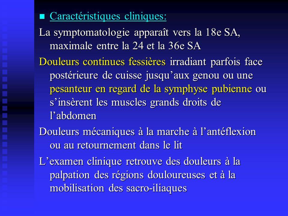Les radiographies réalisées dans le post-partum peuvent objectiver des remaniements des articulations affectées (sacro-iliaques, symphyse pubienne) : Erosions et sclérose des berges de la symphyse pubienne (ostéose pubienne) ou du versant iliaque de la sacro-iliaque (ostéose iliaque condensante).