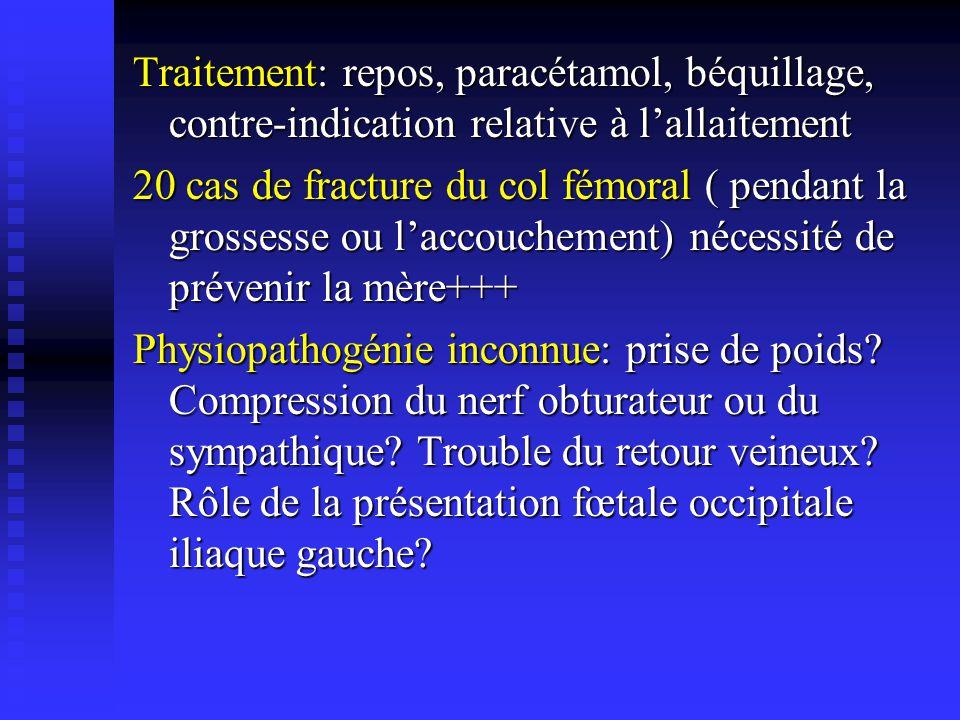 2) LOstéonécrose aseptique de la tête fémorale: 50 cas dans la littérature, représente 2% des causes dONA dans les grandes séries Survient au 3ème trimestre, plus souvent à gauche et bilatérale dans 1/4 des cas Survient au 3ème trimestre, plus souvent à gauche et bilatérale dans 1/4 des cas Douleurs et impotence fonctionnelle majeures Les radiographies standard peuvent être normales Diagnostic par IRM: lésion polaire supérieure de la tête fémorale cernée par un liseré noir en T1 Traitement: repos, paracétamol et béquillage afin de limiter lappui et déviter les déformations de la tête fémorale (par effondrement du séquestre) A distance, traitement identique à celui de toute ONA