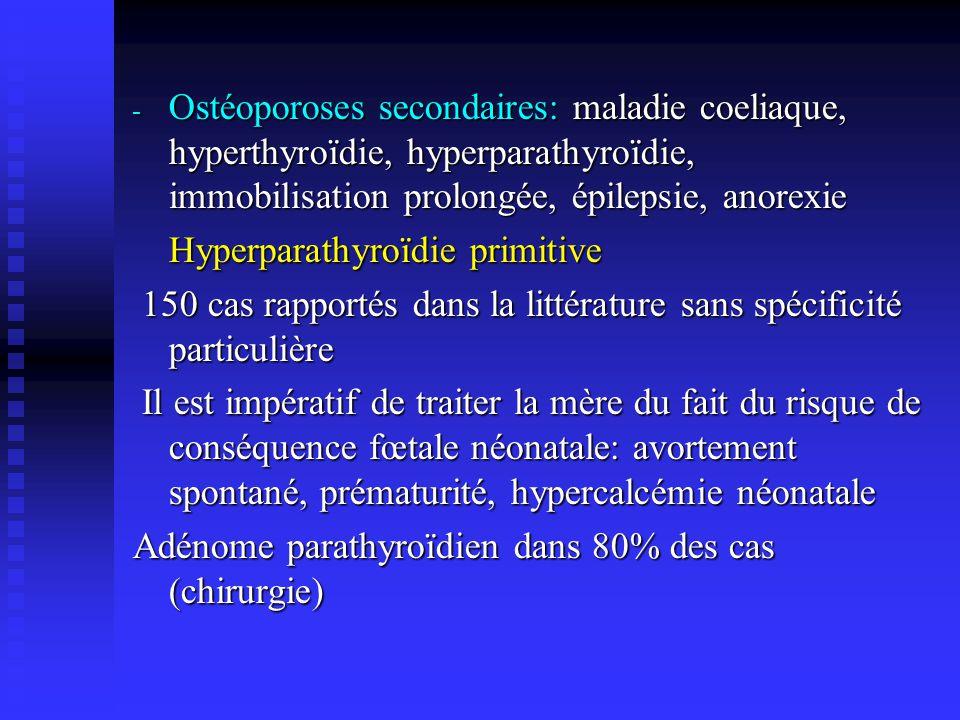 - Ostéoporose médicamenteuse: héparine non fractionnée ( 15 000 unités par jour pendant plus de 3 mois) moins fréquente avec les HBPM - Ostéoporose idiopathique:la plus fréquente, un facteur héréditaire dostéopénie familial est probable - Attitude pratique: - En cas de tassement vertébral survenant durant la grossesse, il faut rechercher une cause secondaire - Corriger la carence en vitamine D - Déconseiller lallaitement - Sil sagit dune complication fracturaire dans le post- partum: arrêter lallaitement, discuter un traitement par la Calcitonine ou Bisphosphonates