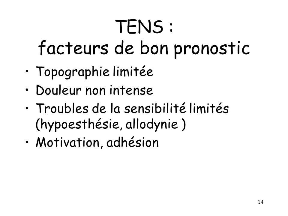 15 TENS : facteurs de mauvais pronostic Topographie étendue Intensité forte Troubles de la sensibilité importants (anesthésie douloureuse, hyperpathie) Composante psychologique importante (attente d un geste, dépression majeure)