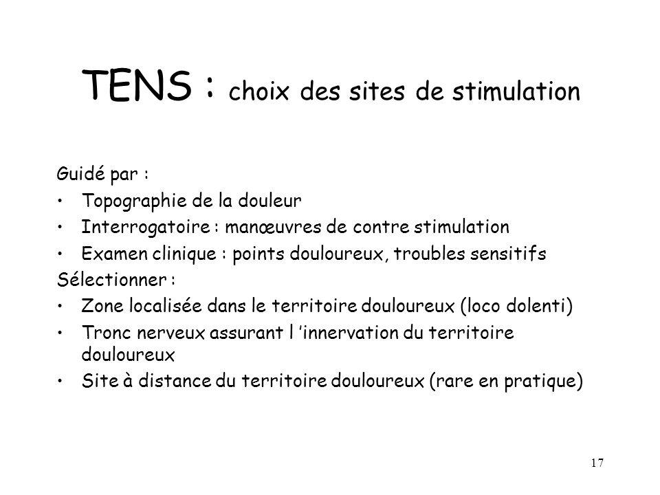 18 TENS : modalités pratiques Fréquence de stimulation et largeur dimpulsion : -élevée (80 à 100 Hz) -basse (2 à 4 Hz) guidée par : la tolérance, préférence du patient les effets immédiats obtenus.