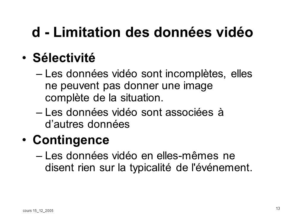 cours 15_12_2005 14 Données vidéo Le professeur Les élèves La classe Laurent Jeannin