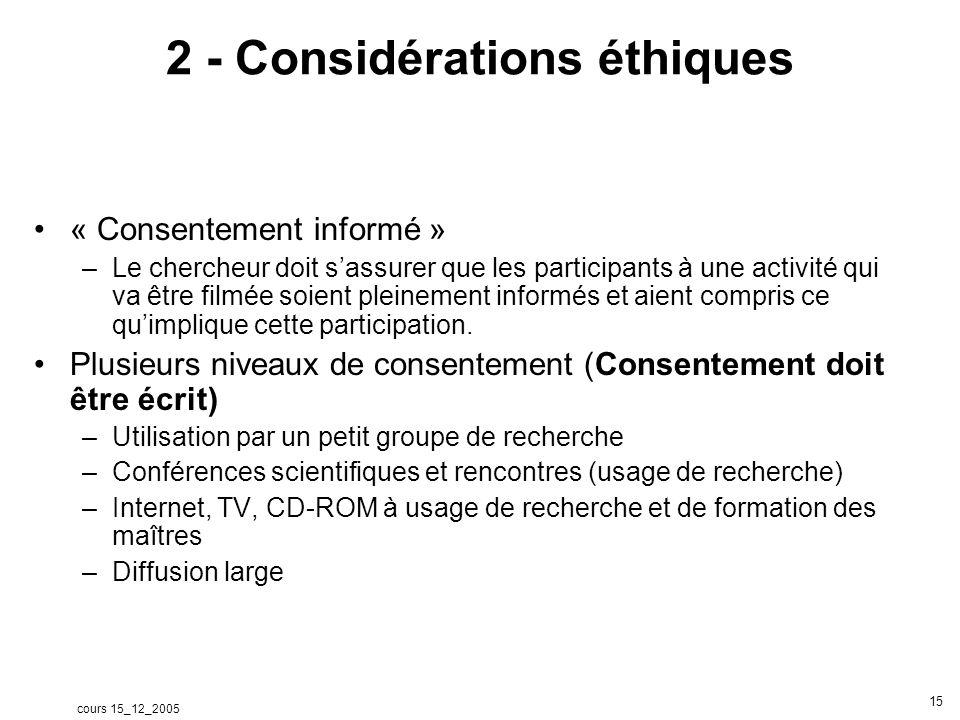 cours 15_12_2005 16 3 - Considérations techniques Une certaine maîtrise de loutil vidéo est indispensable –Prise de vue et prise de son –Numérisation et compression –Codage (Kronos, videographer) –Montage (éventuellement)