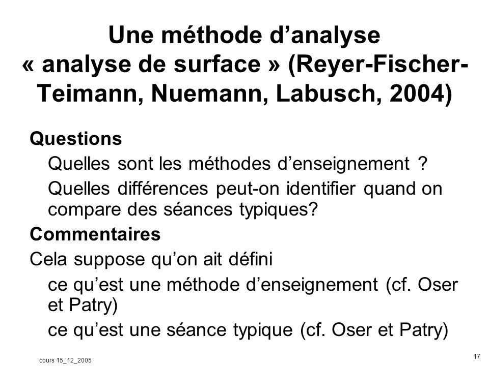 cours 15_12_2005 18 Données utilisées: video de classes Catégories: voir texte Reyer, Fischer, Tiemman, Neumann, Labusch (2004) pour les actions du professeur et les actions des élèves.