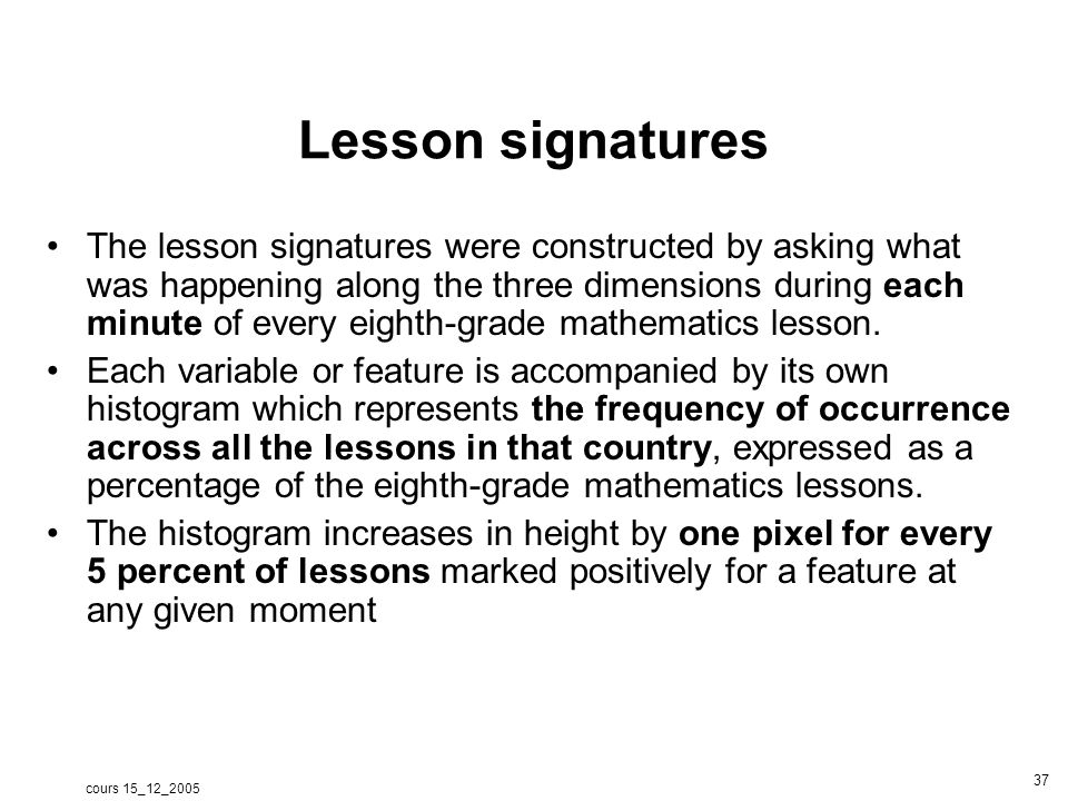 cours 15_12_2005 38 Purpose Classroom interaction Content activity Netherlands: lesson signature New content beginningmiddleend Reviewing Introducing Practicing Public Private Concurrent pb seatwork 91%