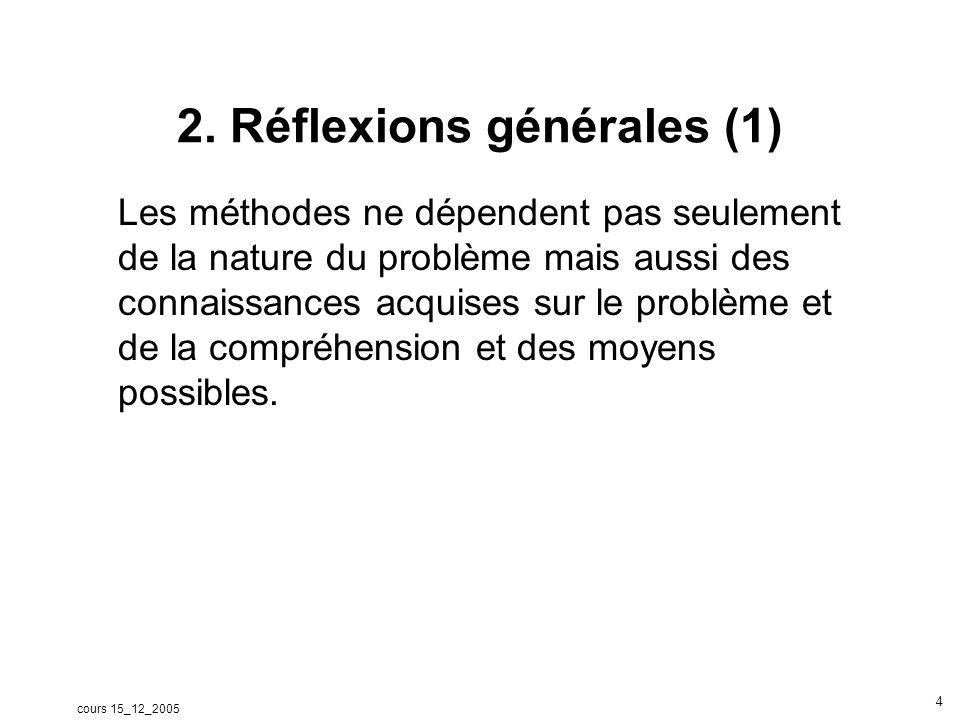 cours 15_12_2005 5 Réflexions générales (2) Proposition Des chercheurs considèrent quil y a deux paradigmes dans la recherche en éducation: Expliquer et établir des relations causales Comprendre ou interpréter.